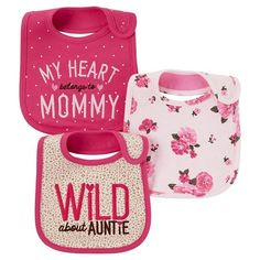 Baby Girls' 3 Pack Bib Pink Monkey My Heart Belongs to Mommy - Just One You™Made by Carter's®