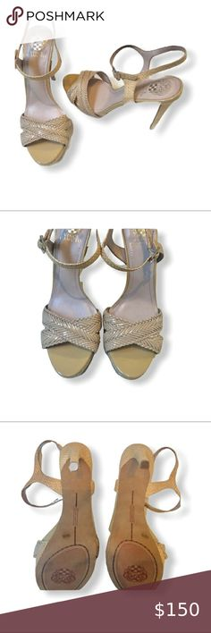 VINCE CAMUTO Nude Patent Leather Sandals 9… Vince Camuto Nude patent leather and wicker Strappy Sandals.   New with out box  Size: 9.5 Color: Nude Vince Camuto Shoes Heels