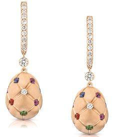 Faberge Treillage Earring Treillage Multicoloured Rose Gold Matt Drop | C W Sellors Fine Jewellery and Luxury Watches #cwsellors #derbyshire #fabergé #jewellery #watches #fblogger #style #watches #imperial #heritage #rococo #treillage