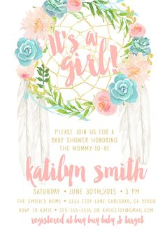 Boho Baby Shower Invitation Girl Dream by KirraReynaDesigns