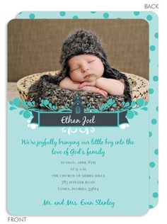Turquoise Polka Dots Baptism Photo Invitations