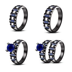 Lab Created Blue Sapphire in 925 Sterling Trio & Bridal Band His & Her Ring Set #adorablejewelry