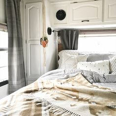 Camper Design Vibes: Tour this beach-worthy boho RV Renovation from Gypsy and a Pirate! Interior, Home, Bedroom Makeover, Tiny Living, Diy Camper Remodel, Small Space Living, Remodel Bedroom, Renovations, Camper Living