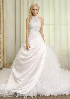 Luxurious Satin & Organza High Collar Neckline Ball Gown Wedding Dresses