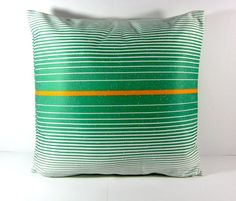 18X18 Orange and Green Stripes Accent Pillow by PascalesCreations