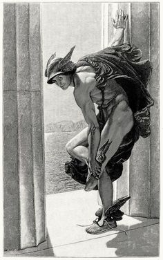 William Blake Richmond 1886 Hermes, a.k.a. Mercury... As one named Mercury, if I had a pair of those shoes and that hat and cape, I could be the spit and image of this picture. Yeah, right! Maybe if Mercury was older, flabbier, and waaaay more clothed... https://twitter.com/williamblake1757