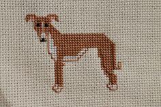 Whippet Cross Stitch Dog Portrait
