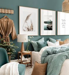 Green Bedroom Walls, Green Master Bedroom, Bedroom Wall Colors, Bedroom Prints, Home Bedroom, Bedroom Decor, Wall Art Bedroom, Olive Bedroom, Gallery Wall Bedroom