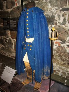 The uniform worn by King Charles XII of Sweden (reigned 1697-1718) when he was shot in the head, whilst inspecting trenches during the invasion of Norway.