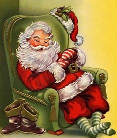 Used Vintage Christmas Card Santa Sleeping in His Easy Chair w Striped Mittens Images Vintage, Vintage Christmas Images, Retro Christmas, Vintage Holiday, Christmas Pictures, Victorian Christmas, White Christmas, Christmas Past, Christmas Wishes