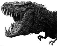 05-T-Rex-Dinosaur-Ricardo-Martinez-Wild-Animals-inside-Scratchboard-Drawings-www-designstack-co