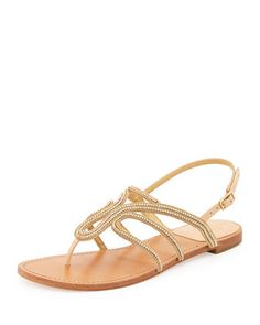Thongshow Crystal Sandal, Gold by Stuart Weitzman at Neiman Marcus.