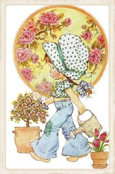 Happy Childhood World by Sarah Key a little gardener Sarah Key, Holly Hobbie, Sarah Kay Imagenes, Digi Stamps, Cute Illustration, Vintage Cards, Vintage Children, Cute Art, Paper Dolls
