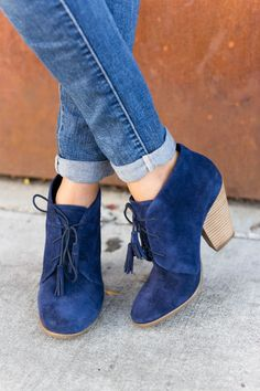Blue suede lace-up booties