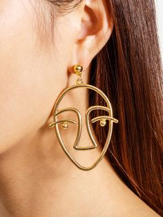 Metal Face Shaped Drop Earrings