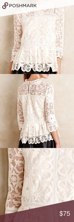 """Anthropologie HD in Paris Lace Nautical Top HD in Paris Nautical Lace Top Size 8  Cotton poly, with poly lining. New never worn, tag has been marked to prevent returns.  19"""" across at bust  26"""" long Anthropologie Tops Blouses"""