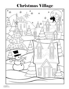 I Used This And A Halloween Coloring Page For Early Elementary Contest Prize Christmas Village