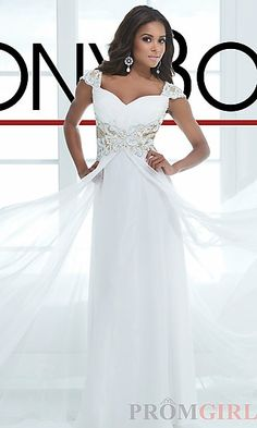 Long Sweetheart Ivory Formal Gown at PromGirl.com