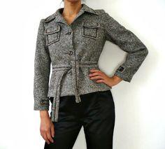 French Vintage Wool Tweed Crop Jacket by bOmode on Etsy