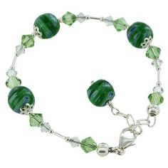 Sterling Silver 10mm Green Millefiori Beads and Crystals 7 to 9 inch Adjustable Bracelet Made with Swarovski Elements Gem Avenue. $19.99. 10mm Millefiori beads. Gem Avenue Sku # SCBR317. 7 - 9 inch adjustable. .925 Sterling Silver