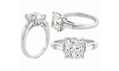 Cushion Cut Engagement Rings With Baguettes 43