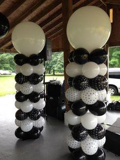 Black & White wedding, balloon columns. Black & White balloon decor.