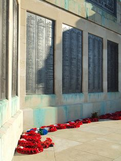 Wreaths on the Royal Navy war memorial at Brompton , Medway Kent [shared]