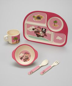 Another great find on #zulily! Pink Pirate Bambooware Dinner Set by Bamboo Studio #zulilyfinds