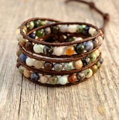 Earth Tone Hippie Bohemian Bracelet // Boho Jewelry// I have so many of these and I love them
