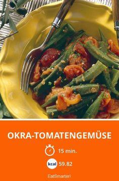 Okra and tomatoes Okra And Tomatoes, Eat Smarter, Mozzarella, Green Beans, Zucchini, Grilling, Food And Drink, Low Carb, Healthy Recipes