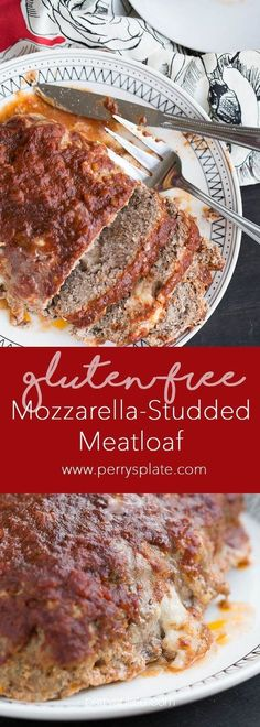 Mozzarella-Studded Gluten-Free Meatloaf | meatloaf recipes | ground beef recipes | fall recipes | comfort food | gluten-free recipes | perrysplate.com