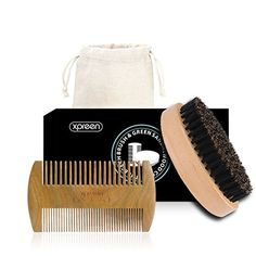 Xpreen Bread Brush and Beard Comb for Men, Dual Action Handmade Sandalwood Shaping Tool with Natural Boar Bristle Brush, Comb Kit for Hair, Beard and Mustache