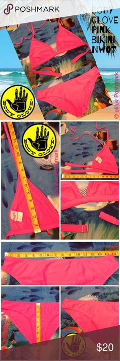 BODY GLOVE pink triangle bikini NWOT Body Globe pink bikini (top and bottom are size M - Juniors.) Bought this few years back, removed tags and then never worn them... They don't fit me anymore, never worn but washed in cold water once. Like new, excellent NWOT condition. See all pictures for complete measurements and description. Body Glove Swim Bikinis