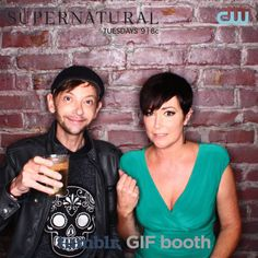 [gif] DJ Qualls and Kim Rhodes - 200th ep party photobooth. <3