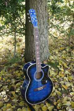 I love blue guitars and have several of them. Blue Acoustic Guitar, Guitar Art, Music Guitar, Cool Guitar, Ukulele, Blue Guitar, Guitar Pics, Blue Background Images, Blue Backgrounds