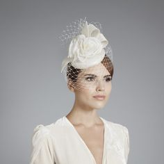 Gina Foster Millinery - Celia - Small Bridal Hat with Rose & Veil