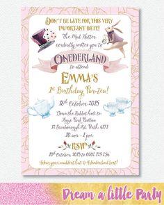38 best alice in wonderland invitations images on pinterest alice mad hatter alice in onederland invitation personalised digital file alice in wonderland birthdayalice filmwisefo