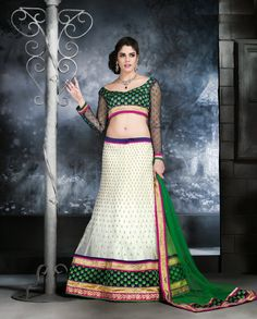 Off white lehenga with green dupatta Off white net Comes with unstitched blouse material and dupatta Net Lehenga, Lehenga Choli Online, Bridal Lehenga, Wedding Lehnga, Designer Lehnga Choli, Ghagra Choli, Indian Dresses, Indian Outfits, Two Piece Long Dress