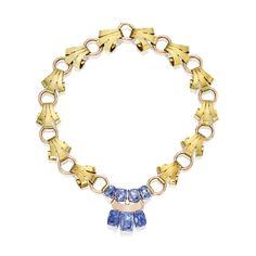 14 Karat Two-Color Gold and Sapphire Necklace | Lot | Sotheby's