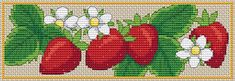 free cross stitch strawberry bookmark full crosses only | Amanda Gregory cross-stitch design