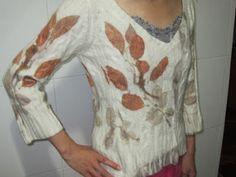 Wool top with eco prints. Blog http://terriekwong.blogspot.hk/2013/03/eco-print-wool-sweater.html