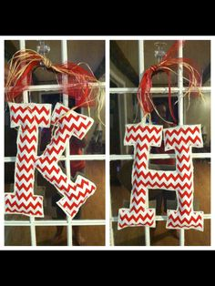 Burlap and chevron letter door hangers