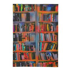 Rainbow and orange painted book shelves for those who love to read.
