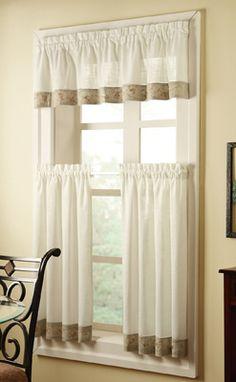 Kitchen Curtains? Oakwood Cafe Curtains w/ Floral Trim