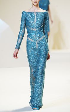 Elie Saab. Teal lace embroidered long dress. - I tend to be attracted to Elie Saab gowns, this is lovely!
