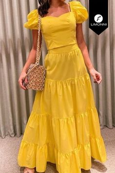 Diy Fashion Dresses, W Dresses, Skirt Fashion, Fashion Outfits, Summer Dresses, Jw Moda, Long Dress Design, Yellow Clothes, Chiffon Dress