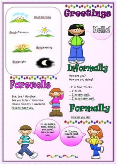greetings and farewells worksheets for kids - Buscar con Google