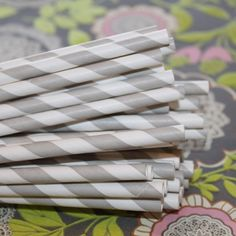 Grey Striped Paper Drinking Straws, for parties, weddings and events.