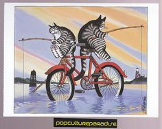 B. KLIBAN (Bernard) CATS ART POSTCARD Kitty fishing from bike | eBay
