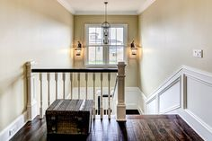 Cottage Farmhouse Design Ideas, Pictures, Remodel, and Decor - page 18 I  banister, railings, floors, wainscot!!